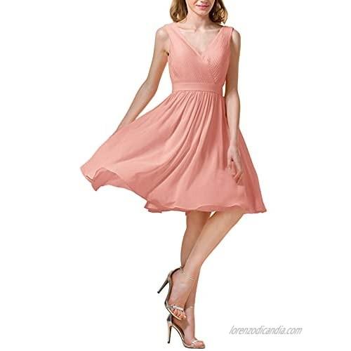 Alicepub Double V-Neck Chiffon Bridesmaid Dresses for Women Girls Short Formal Party Homecoming Dress