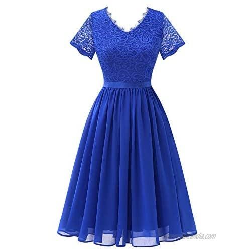 BeryLove Women's Vintage Floral Lace Formal Dress Cocktail Prom Dress Short-Sleeves