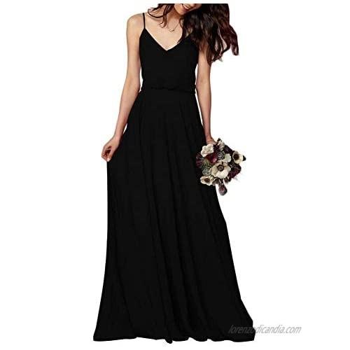 EverLove Women's Chiffon Spaghetti Straps Long Bridesmaid Dresses