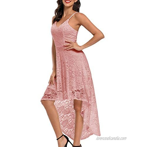 SSZZoo Women Vintage Princess Floral Lace Cocktail V-Neck Party Swing Wedding Formal Dress