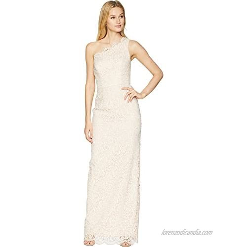 Adrianna Papell Women's One Shoulder Metallic Corded Lace Column
