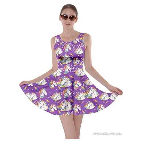 CowCow Womens Fun Outfit Unicorn Fancy Party Castle Princess Party Skater Dress  XS-5XL