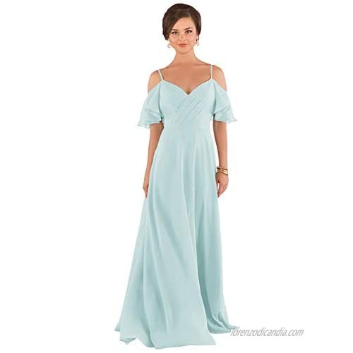 Yilis Women's Spaghetti Strap V-Neck Long Bridesmaid Dresses A-line Formal Evening Gown with Ruffle Sleeves