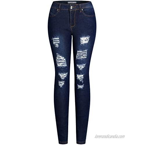 2LUV Women's Trendy Colored Distressed Skinny Jeans