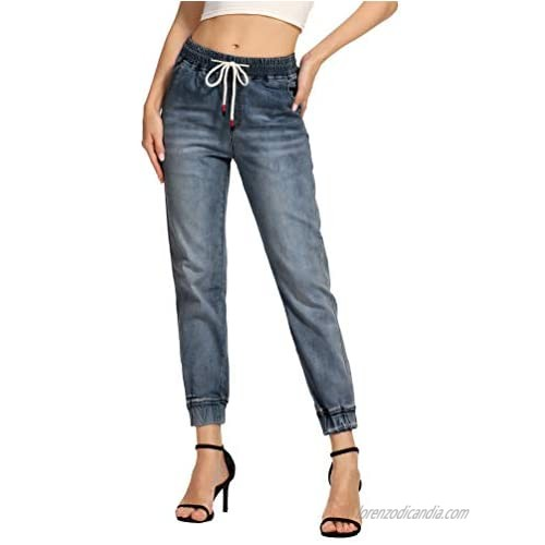 Foucome Women's Jeans Drawstring Jogger Workout Denim Pants with Pockets