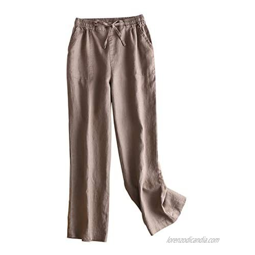 Gihuo Women's Elastic Waist Drawstring Palazzo Pants Linen Pants Wide Leg Trousers with Pockets