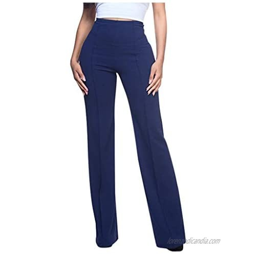 iYYVV Womens High Waist Fashion Solid Loose Wide Leg Trousers Flowing Palazzo Pants