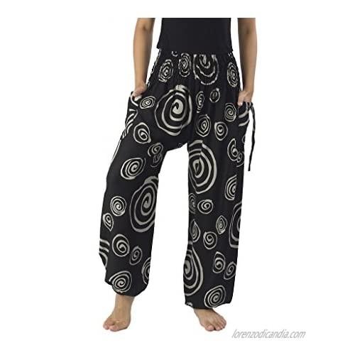 Lannaclothesdesign Women's Smocked Circle Printed Hippie Boho Pants
