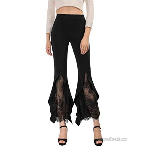 SCARLET DARKNESS Women Gothic Flare Bell Bottoms Pants High Waist Palazzo Lounge Pants