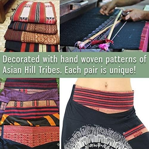 virblatt - Harem Pants for Women and Men   100% Cotton   Hippie Pants for Women Drop Crotch Pants Men Plus Aladdin Boho