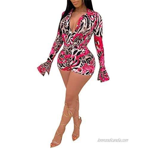 Adogirl Sexy Bodysuit for Women - Long Sleeve Romper Deep V Neck Sexy Sleepwear One Piece Romper Shorts Overall Shorts