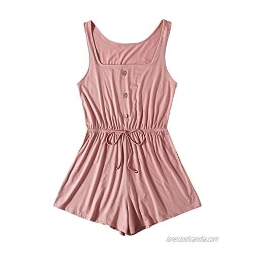 Milumia Women Plus Size Square Neck Drawstring High Waist Romper Button Front Jumpsuit