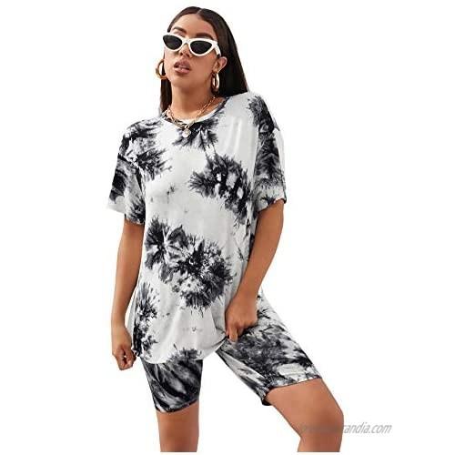 Romwe Women's Tie Dye Oversized Short Sleeve T Shirt and Biker Shorts Set Workout Outfit