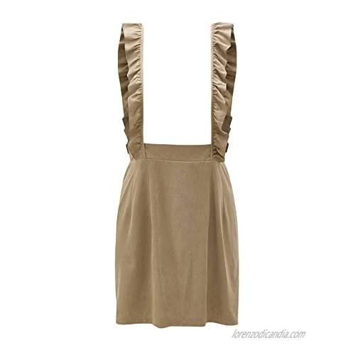 WDIRARA Women's Lace Straps High Waist Flare Mini Pinafore Skirt Overall Dress Khaki L