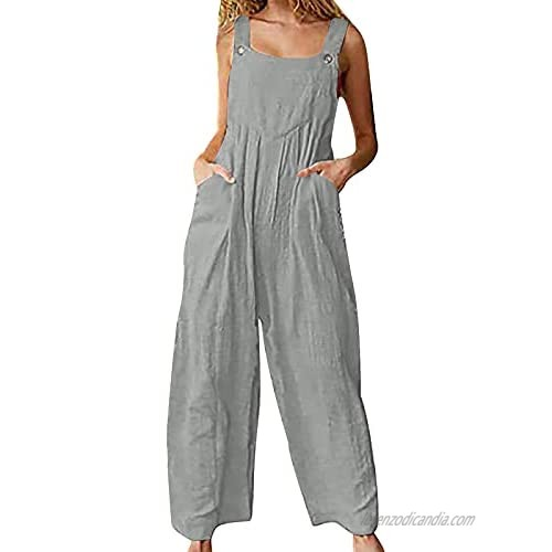 Women Summer Sleeveless Overalls Solid Color Loose Casual Jumpsuit Cotton Linen One-piece Romper Pocket Pants
