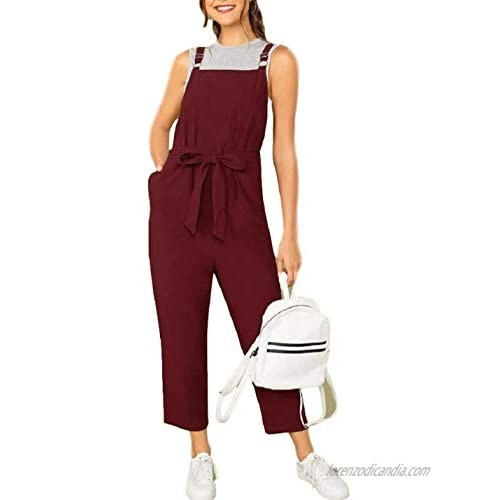 Yeokou Womens Casual Baggy Tapered Cropped Bib Jumpsuit Overalls Rompers with Belt(Maroon-L)