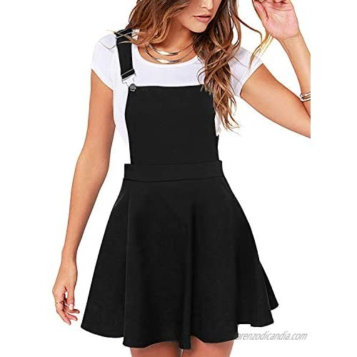 YOINS Overall Pinafore Dresses for Women Button Design Pleated Mini Cute Suspender Skirts