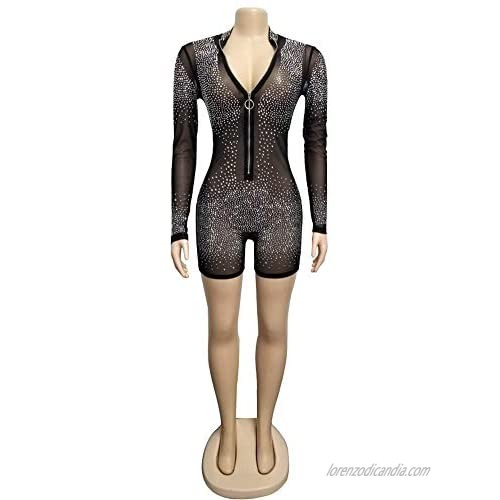 Adogirl Womens Sexy Sequin Rhinestone Romper Jumpsuit Clubwear Bodysuit