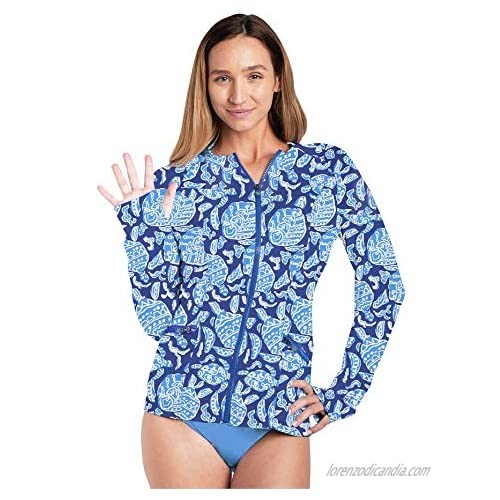 Women's Zip Front Long Sleeve Rash Guard One Piece UPF 50+ UV/Sun Protection Factor(SPF) Comfortable Active Wear for Women (Blue Turtle  XS)
