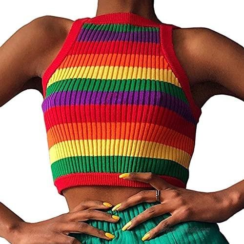 Artfish Women's Knitted Ribbed Crop Tank Top Y2K LGBTQ Pride Rainbow Striped Sleeveless Cami Shirts