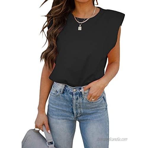 BZB Women Sleeveless T Shirt Padded Shoulder Crewneck Solid Color Loose Tank Tops