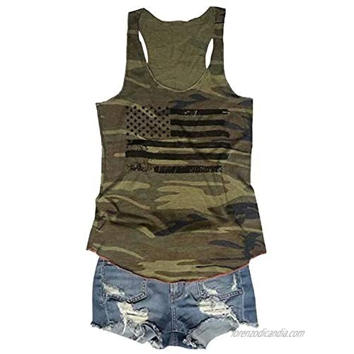 FLOYU Women's Camouflage Patriotic American Flag Graphic Print Casual Sleeveless 4th of July Tank Tops