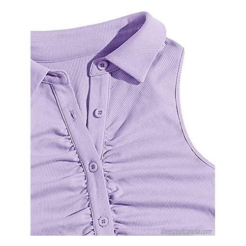 SweatyRocks Women's Button Front Rib Knit Crop Tank Top Sleeveless Collar Vest