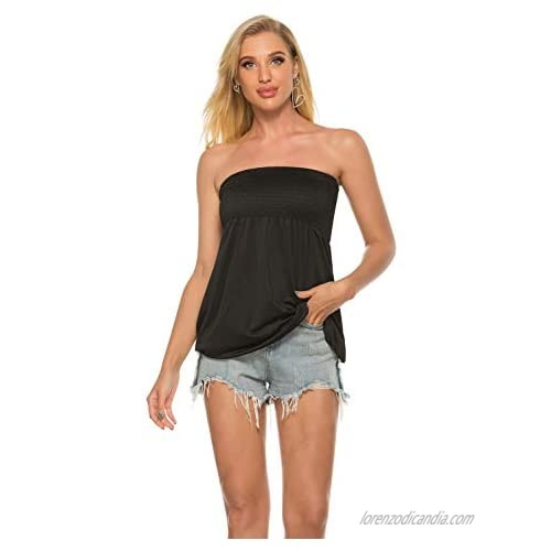 Tube Tops for Women Women Strapless Top Sleeveless Tube Top Blouses Pleated Tunics Tube Crop Top
