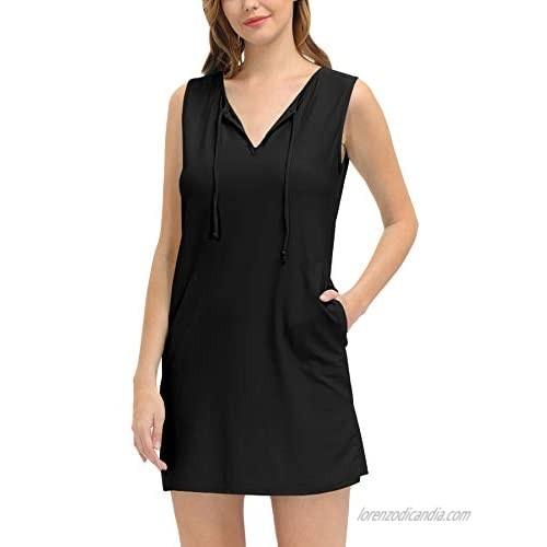 Clarisbelle Womens Summer UPF 50+ Sleeveless Rashguard Shirt Dress Sun Protection Cover Ups