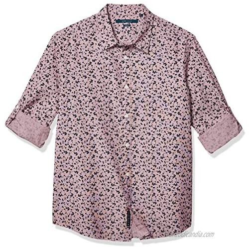Perry Ellis Men's Floral End Untucked Roll Sleeve Button-Down Shirt