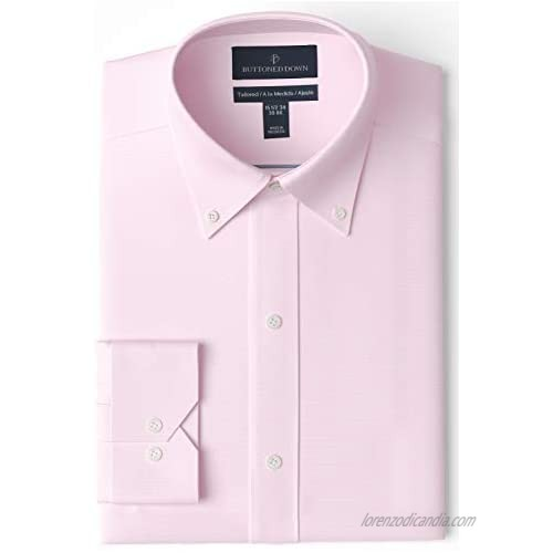 """Brand - Buttoned Down Men's Tailored-Fit Button Collar Pinpoint Non-Iron Dress Shirt  Light Pink  15"""" Neck 34"""" Sleeve"""