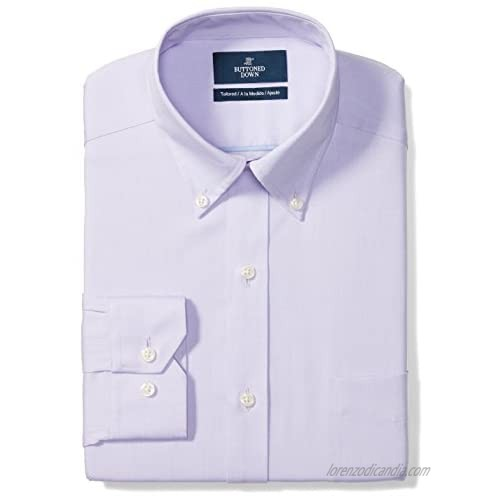 """Brand - Buttoned Down Men's Tailored-Fit Button Collar Pinpoint Non-Iron Dress Shirt  Purple  17"""" Neck 37"""" Sleeve"""