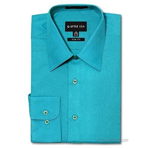 G-Style USA Men's Slim Fit Dress Shirt - Turquoise - XL/17-17.5/36-37