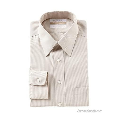 Gold Label Roundtree & Yorke Non Iron Regular Point Collar Stripe Dress Shirt S85DG012 Tan