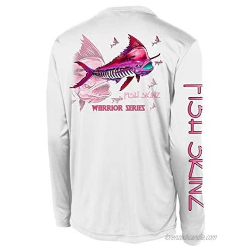 Fish Skinz Mens Performance Fishing Shirt UPF 50+ Protection  Pink Mahi  White