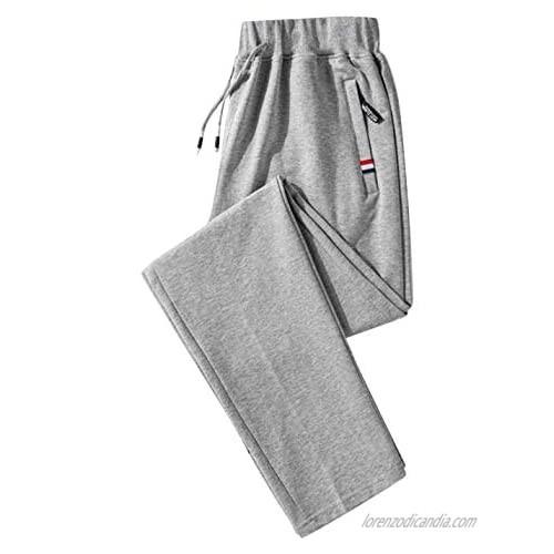Flygo Men's Drawstring Waist Workout Yoga Track Pants Casual Cotton Open-Bottom Sweatpants