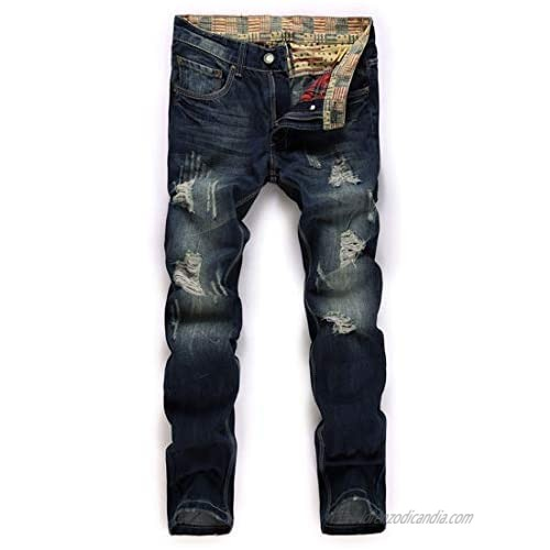 utcoco Men's Casual Mid Waist Pant Destroyed Ripped Straight Leg Distressed Blue Denim Jeans