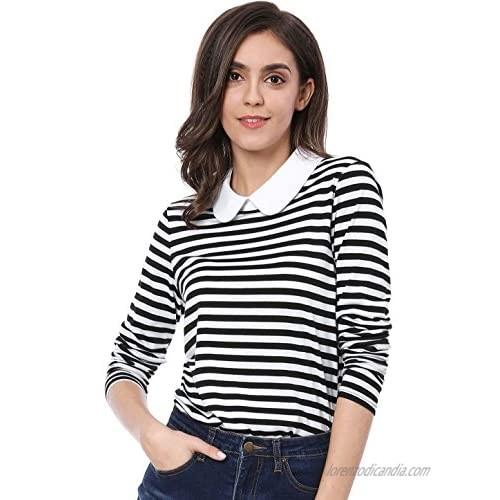Allegra K Women's Long Sleeves Peter Pan Contrast Striped Blouse Top