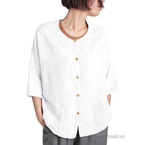 Ecupper Womens Oversized Linen Rayon Blouse Plus Size Button Down Drop 3/4 Sleeve Shirt Tops