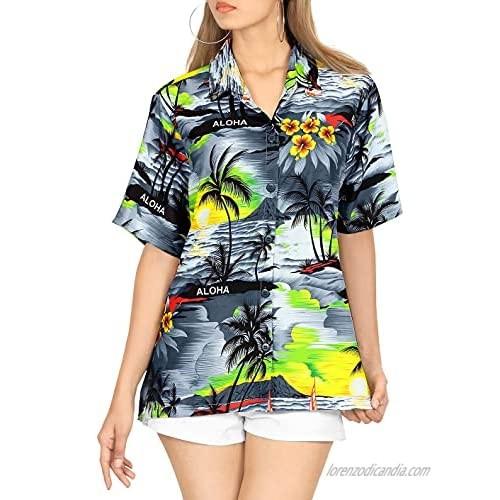 LA LEELA Women Summer Surfing Beach Print Tie-up Hawaiian Shirt XL Grey_AA493