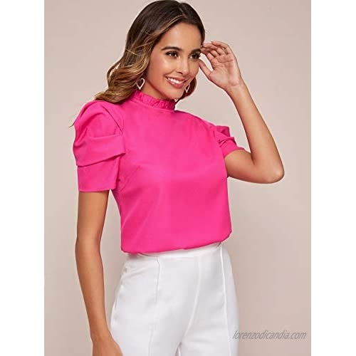 Milumia Women Mock Neck Puff Sleeve Chiffon Blouse Frilled Work Office Solid Top