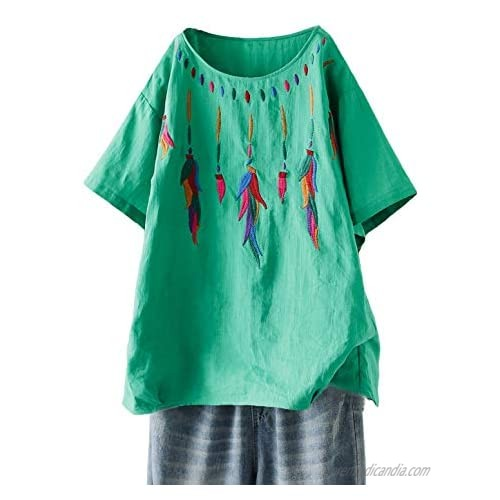 Minibee Women's Boho Embroidered Tops Short Sleeve Bohemian Linen Shirts Casual Mexican Blouses