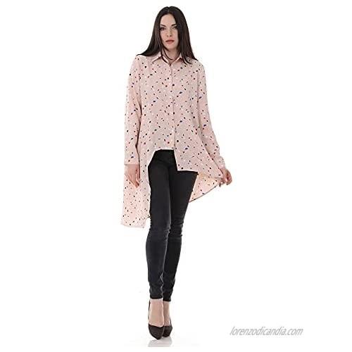 N\C Women's Lapel Irregular Design Mid-Length Loose Chiffon Printed Long Sleeve Shirt