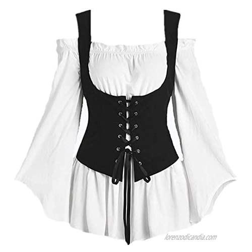 Women's Plus Size Gothic Renaissance Blouse Long Sleeve Off Shoulder Reversible Peasant Bodice Tops.