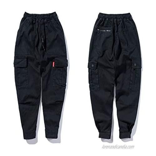 Men's Cargo Pants Solid Color 5-Pocket Loose Fit Drawstring Elastic Waist