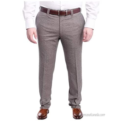 Napoli Slim Fit Brown Houndstooth Flat Front Wool Dress Pants