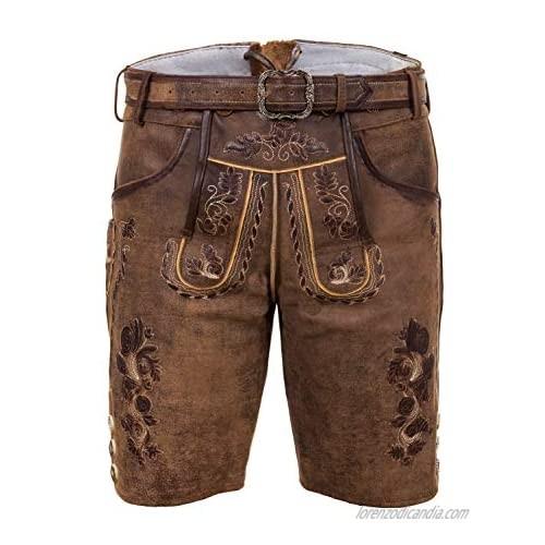 Edelnice Trachtenmode Bavarian Traditional Short Leather Trousers Thomas Lederhosen with Belt