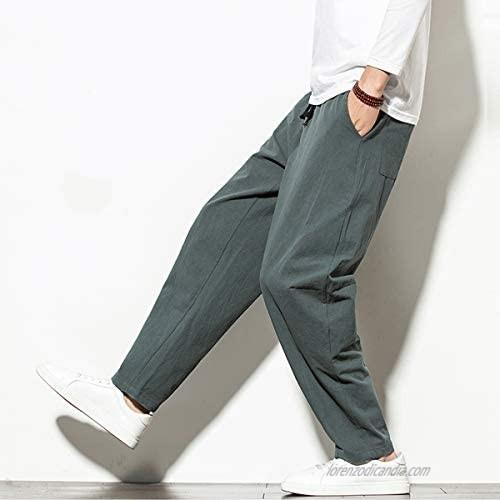 INVACHI Mens Linen Cotton Relax Fit Elastic Waist Drawstring Trousers Beach Yoga Causal Pants