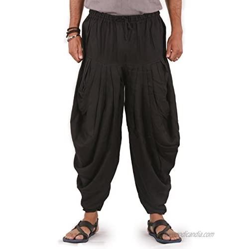 The Harem Studio Mens Womens Linen Pants with Drawstring Elastic Waist and 2 Pockets Harem Pants - Dhoti Style