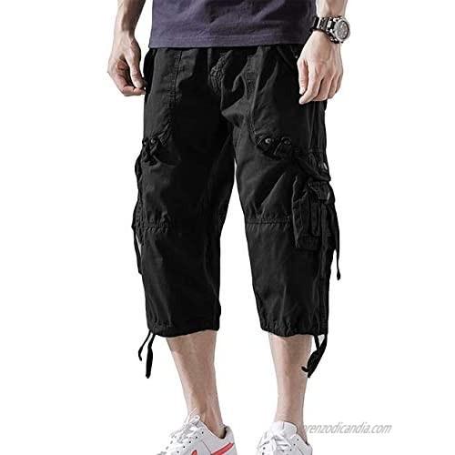 Insenver Mens Cargo Shorts 3/4 Loose Fit Below Knee Capri Long Shorts Multi Pocket Short